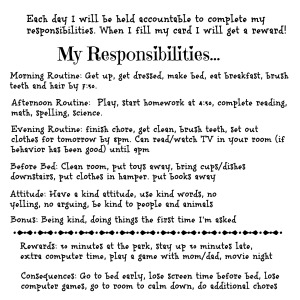 responsibilities for an 8 year old